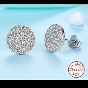 Jewelry - NEW Sterling Silver Pave Stud Earrings